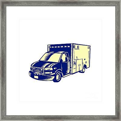 Ems Ambulance Emergency Vehicle Woodcut Framed Print
