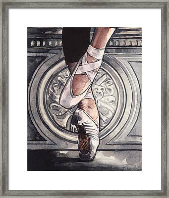 En Pointe In Ballet Shoes Framed Print by Laura Row