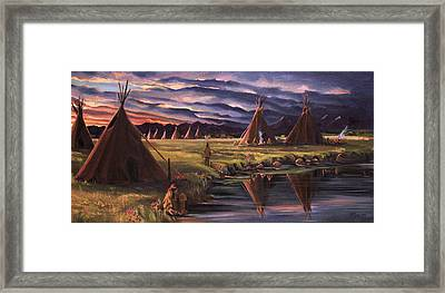 Encampment At Dusk Framed Print by Nancy Griswold
