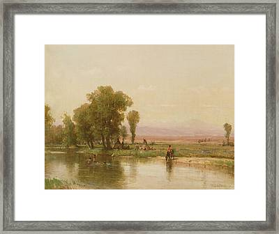 Encampment On The Platte River Framed Print