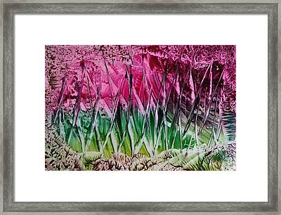 Encaustic Abstract Pinks Greens Framed Print