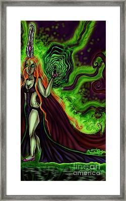 Enchanted By An Emerald Flame Framed Print by Coriander Shea