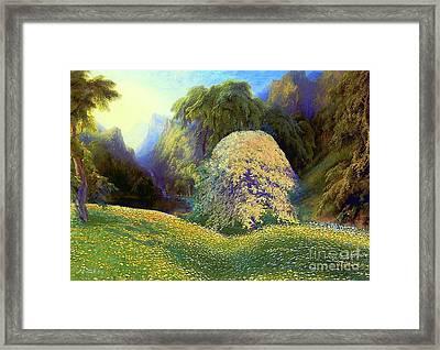 Enchanted By Daisies, Modern Impressionism, Wildflowers, Silver Birch, Aspen Framed Print