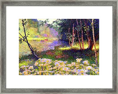 Enchanted By Daisies, Modern Impressionism, Wildflowers, Silver Birch, Aspen Framed Print by Jane Small