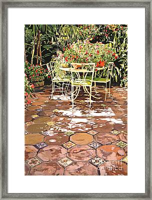 Enchanted Patio Framed Print by David Lloyd Glover