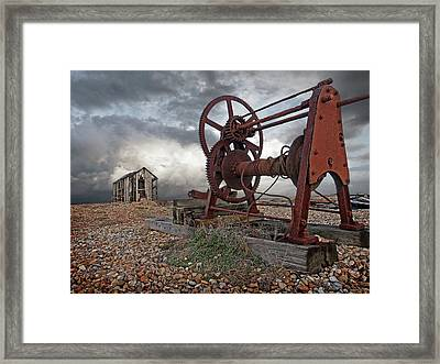 End Of An Era - Rusty Winch And Derelict Fishing Hut Framed Print