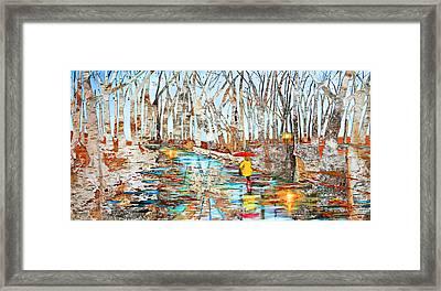 End Of Autumn Birch Background Framed Print by Ken Figurski