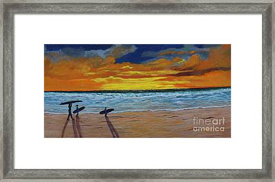 Framed Print featuring the painting End Of Day by Myrna Walsh