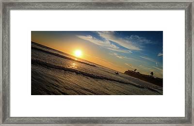 End Of Summer Sunset Surf Framed Print