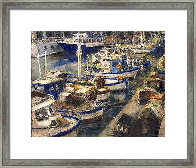 End Of The Day Fishing Boats Genoa Framed Print by Randy Sprout
