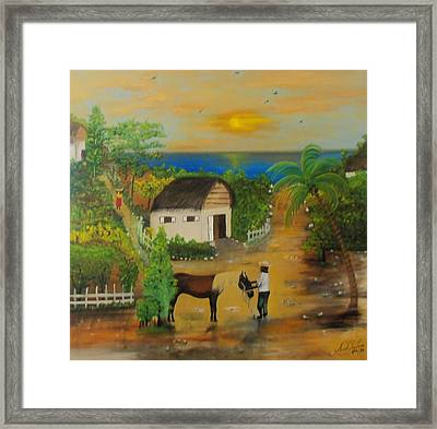 Framed Print featuring the painting End Of The Day by Nicole Jean-Louis