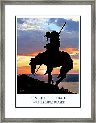 End Of The Trail Sculpture In A Sunset Framed Print