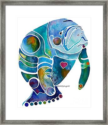 Endangered Manatee Framed Print by Jo Lynch