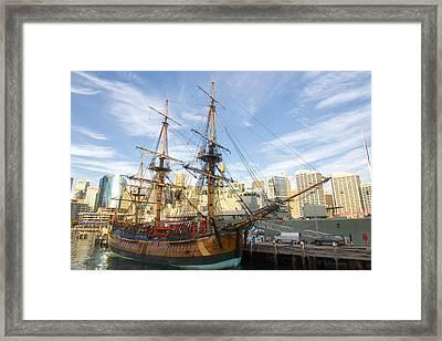 Endeavour Replica Captain Cooks Ship In Sydney Framed Print by Niel Morley