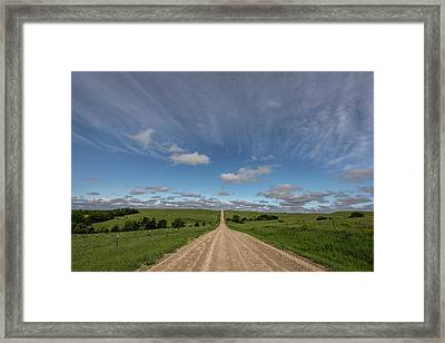 Framed Print featuring the photograph Endless Country Road by Scott Bean