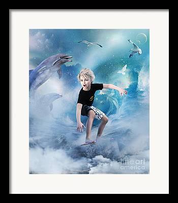 Wave Riders Framed Prints