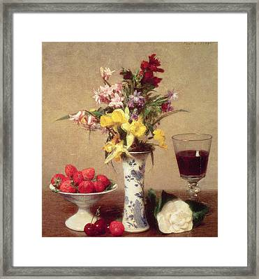 Engagement Bouquet Framed Print by Ignace Henri Jean Fantin-Latour