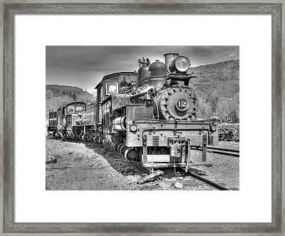 Engine 12 Black And White Framed Print by Lorraine Baum