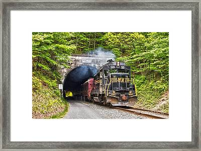 Engine 501 Coming Through The Brush Tunnel Framed Print