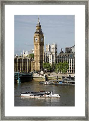 England, London, Big Ben And Thames River Framed Print by Jerry Driendl