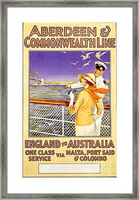 England To Australia Framed Print