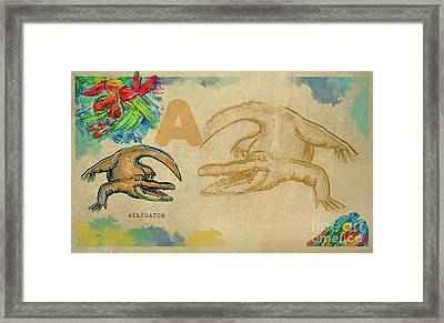 Framed Print featuring the drawing English Alphabet , Alligator  by Ariadna De Raadt