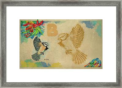 Framed Print featuring the drawing English Alphabet , Bird by Ariadna De Raadt
