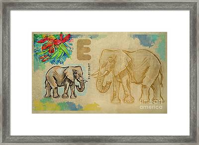 Framed Print featuring the drawing English Alphabet , Elephant by Ariadna De Raadt