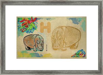 Framed Print featuring the drawing English Alphabet ,  Hippos by Ariadna De Raadt