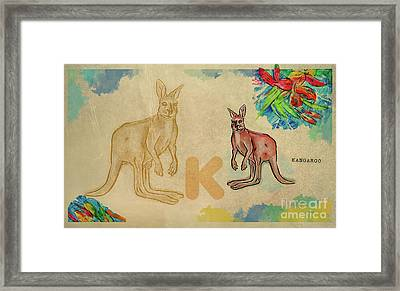 Framed Print featuring the drawing English Alphabet , Kangaroo by Ariadna De Raadt