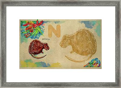 Framed Print featuring the drawing English Alphabet , Nutria by Ariadna De Raadt