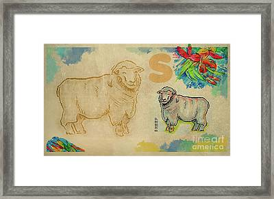 Framed Print featuring the drawing English Alphabet , Sheep  by Ariadna De Raadt