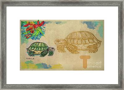 Framed Print featuring the drawing English Alphabet , Turtle  by Ariadna De Raadt