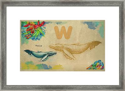 Framed Print featuring the drawing English Alphabet , Whale by Ariadna De Raadt