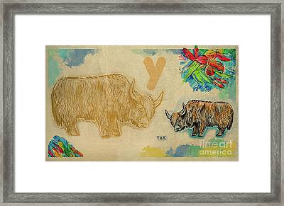 Framed Print featuring the drawing English Alphabet , Yak  by Ariadna De Raadt