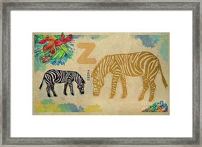 Framed Print featuring the drawing English Alphabet , Zebra by Ariadna De Raadt