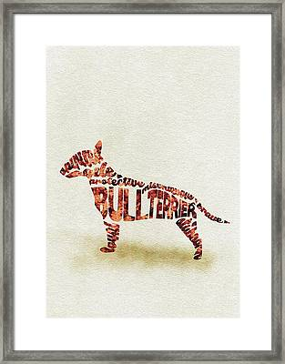 English Bull Terrier Watercolor Painting / Typographic Art Framed Print