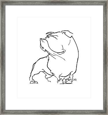 English Bulldog Gesture Sketch Framed Print