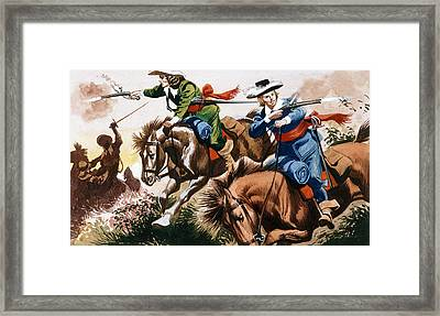 English Civil War Battle Scene Framed Print by Ron Embleton