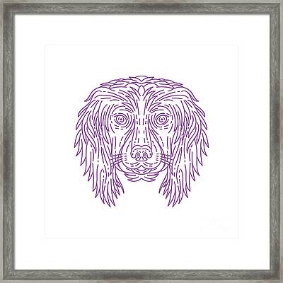 English Cocker Spaniel Dog Head Mono Line Framed Print by Aloysius Patrimonio