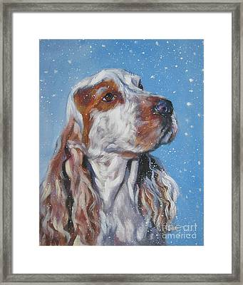 English Cocker Spaniel In Snow Framed Print by Lee Ann Shepard