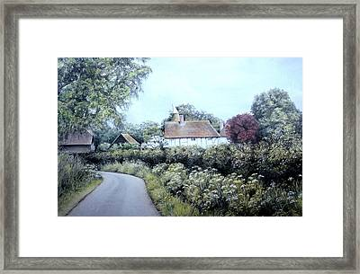 Framed Print featuring the painting English Country Lane by Rosemary Colyer