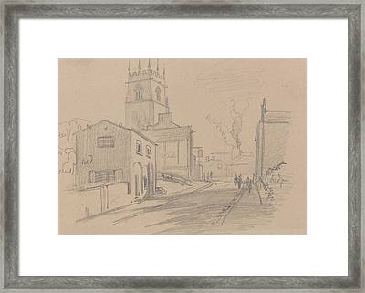 English Country Town Framed Print by Edward Lear