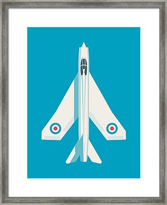 English Electric Lightning Fighter Jet Aircraft - Blue Framed Print