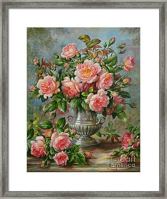 English Elegance Roses In A Silver Vase Framed Print by Albert Williams