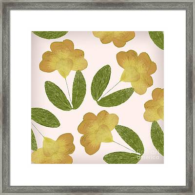 English Garden Pressed Yellow Rose Pattern Framed Print by Mindy Sommers