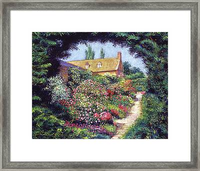 English Garden Stroll Framed Print by David Lloyd Glover