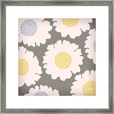 English Garden White Flower Pattern Framed Print by Mindy Sommers