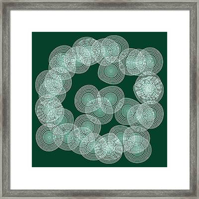 English Green Abstract Circles Square Framed Print by Frank Tschakert