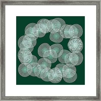 English Green Abstract Circles Square Framed Print by Frank Tschakert